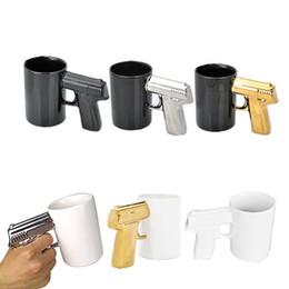 Wholesale Milk Bottle Glasses Wholesale - Pistol Grip Gun Mug Coffee Milk Cups 4 colors Creative Office Ceramic Beer Mugs Wine Glasses Electroplate Drinkware Bottle DHL