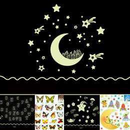 Wholesale Mix Order Kids Wall Stickers - Mix Order Eco-friendly PVC Fluorescent Luminous Wall Sticker Glow in the Dark Stars Decorative Wall Decal for Kids Rooms Decoration Wall Art