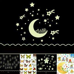 Mix Order экологичный ПВХ флуоресцентный световой стикер стены светятся в темноте звезды декоративные наклейки на стены для детей номера украшения стены искусства от Поставщики оптовые девушки комната обои