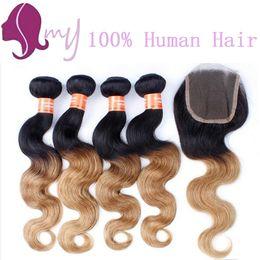 Wholesale Bundles Blonde - NEW!!! Brazilian Virgin Hair Ombre With Closure Blonde Ombre Brazilian Hair With Closure Honey Blonde Bundles With Closure