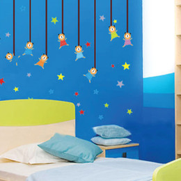 Wholesale Doll Wall Stickers - Hot Sell PVC Wall Stickers Sunny Doll Star Enjoying Life Home Decoration Novelty Wall Decal for Kids Room