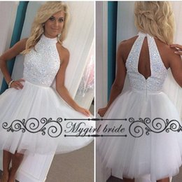 Wholesale Beaded Collar Top - Short homecoming dresses white with beaded top Knee Length Tulle Halter sexy Party Dresses New gowns