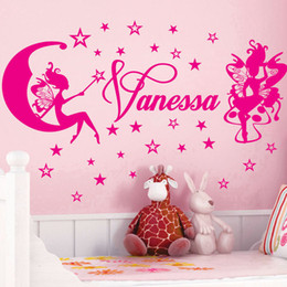 Wholesale Fairy Names - Custom Name Wall Stickers Cute Star the Fairy Removable Wallpapper 3D Art Vinyl Nursery Wall Decals for Kids Rooms Home Decoration Poster