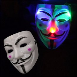 Wholesale Halloween Woman Fancy Dress - LED Flashing V Mask for Vendetta Masquerade Men Women Party Masks Fancy Dress Luminous LED Mask Halloween Costume Cosplay Props OOA2782