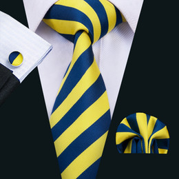 Wholesale Silk Strips - Classic Silk Men Neck Tie Strips Tie Sets Yellow Men Ties Tie Hanky Cufflinks Jacquard Woven Meeting Business Wedding Casual Party N-1490
