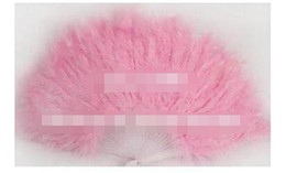 Wholesale Feather Folding Fans - 21 Folding Staves handmade marabou feather fan   feather craft  for dancing, wedding or decoration