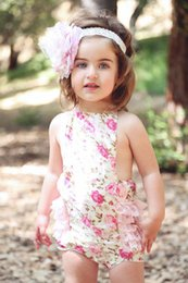 Wholesale Girls Chevron Lace Rompers - 2016 New Arrival Wholesale retail Baby Clothes Cashew flowers Baby Bubble Romper Chevron Rompers Photo Props