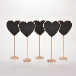 Wholesale Chalkboard Place Holder - 10 pcs lot Lovely Mini Heart Wooden Chalkboard Blackboard on stick Place holder Table Number Wedding Gift