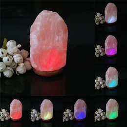 Wholesale Himalayan Crystal Salt Lamp - Wholesale- USB 15W Himalayan Salt Lamp Crystal Rock Carved Multi Color Auto Changing LED Table Desk Lamp Night Light Decor Crafts Gift