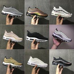 Wholesale Court Box - 2017 With Box Mens and Womens Shoes AIR 97 Gold Pink Silver Bullet x Skepta 3M Undefeated Running Shoes Sneakers Men Outdoor Shoes
