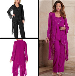 Wholesale Women Dressed Winter Jackets - Fuchsia mother bride groom dresses 2017 Embroidery Mother of The Bride Groom Pant Suits with Jacket Women Party Dresses Wedding Evening Gown