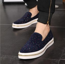 Wholesale Blue Diamonds Music - Autumn music fun shoes men's leather feet lazy shoes inlaid diamond water permeation Europe and the United States tide shoes