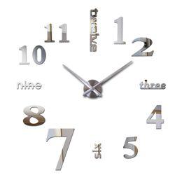 бесплатные 3d часы Скидка Wholesale-2016 3d clocks horloge watch sale new diy acrylic mirror wall clock Home Decoration Quartz Modern Living Room free shipping
