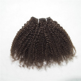 Wholesale Short Curly Hair Piece - Brown Color Short Curly Human Hair Weave Star Bob Style 1 piece Kinky Curly Free Shipping #2 #4 100g pc