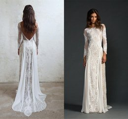 Wholesale Real Samples Wedding Dresses - 2018 Summer Bohemian Lace Wedding Dresses Cheap Sheer V Neck Mermaid Hollow Back Boho Beach Long Bridal Gowns Real Sample Custom Made