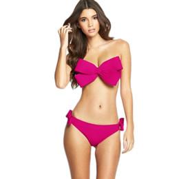 Wholesale Sexy Swimwear Big Women - Women Sexy Swim Wear Solid Swimwear Bikini Big Bow Bandeau Beach Wear Halter Swimsuit Push Up Bathing Suit 2016 New Arrival 2506004