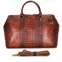 Wholesale Large Tote Patterns - High-grade crocodile pattern fashion leather leather Europe and the United States retro first layer leather travel bag men's large capacity