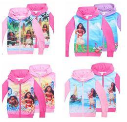 Wholesale Girl Jackets Cartoons - Cartoon Girls Moana Jacket Coat Trolls Kids Hoodies Sweatshirts Outwear Children Kids Cartoon Long Sleeve Zipper Casual Coat KKA2309