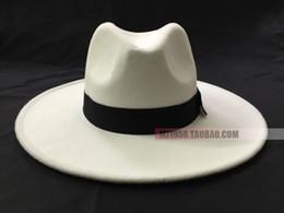 Wholesale Wide Brimmed Fedora - White hat fedoras mj hat