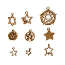 Wholesale Imitation Jewels - Free shipping New 116pcs lot Zinc Alloy Antique Bronze Plated Five Pointed Star Charms Vintage Tibetan Pendants DIY Bracelet Necklace jewel
