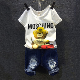 Wholesale Denim Girls Sets - 2016 Children Sets Cartoon Bear White T Shirt Ripped Denim Shorts 2 Pieces Girls Clothing Sets Casual Summer Boys Clothing Sets