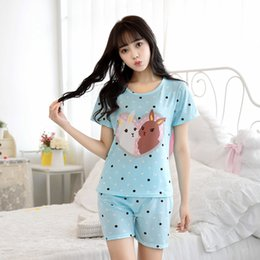 Wholesale Pajamas For Women Cheap - Wholesale- 2017 Summer Fall Fashion Cute Letter Rabbit Milk Cotton Casual Nightwear Pajamas Pyjamas For Women Size M-XL Cheap Clothes