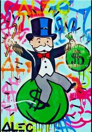 Wholesale Monopoly Bag - New Design! Money Bag,Genuine Handpainted Alec Monopoly Cartoon & graffiti Pop Art oil Painting On Canvas Museum Quality any size chosen
