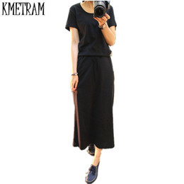 Wholesale Plain Maxi Dresses - Wholesale- Women Summer Dress Black Casual Shift Dresses Womens Plain Grey O-Neck Short Sleeve Rolled-cuff Pockets Split Maxi Dress G210