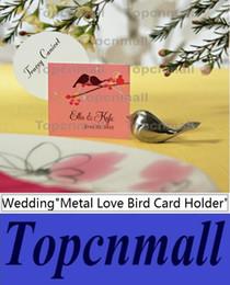 Wholesale Love Birds Wedding Decor - Metal Love Bird Place Card Holder Wedding Party Table Decor Bridal Baby Shower Baptism Favor Gift Party Souvenirs TPML-3498
