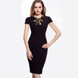 Wholesale Wool Skirts Vintage - Cheap ladies dress - bow short sleeved multi fold elastic bag hip pencil skirt LYQ0115
