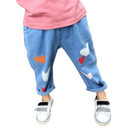 Wholesale Kids Girls Jeans - 2016 New Ins Autumn Children Jeans Girls Love Heart Printing Pants Kids Blue Harem Pants Trousers Bady Pencil Pants Toddler Infants in stock