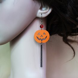 Wholesale Pumpkin Charm Gold - Orange Color Pumpkin Earrings Long Tassel Metal Chain Drop Earring For Women Halloween Jewelry Accessories Dangle Charm Eardrop NE809