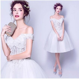 Wholesale White Line Ball Gowns - 2017 Cheap White Princess Lace Applique Formal Evening Dress Ball Gown A-Line Bateau Skirt Short Prom Party Dress Sweety Homecoming Dress