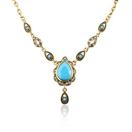 Wholesale Wholesale Banquet Plates - Wholesale-Bohemia Style Statement Vintage Antique Gold plated 3 Color Resin Elegant Pendant &Necklace Women Banquet Wholesale YUN1062~064