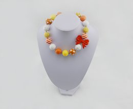 Wholesale Chunky Yellow Beaded Necklace - Bubblegum Necklace,Halloween Chunky Bead yellow orange white 2016 orange bow necklace red and black and yellow necklaces toddler necklace