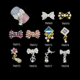 hotfix de pérolas Desconto Atacado- 10 pçs / lote unhas 3D encantos jóias liga Bow Tie com pingente de cristal Glitter Rhinestones decorações para Nail Art TN969-978