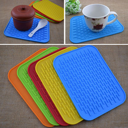 Wholesale Dishes Modern - 21.5*15.8CM Silicone Dish Drying Mat Square anti-skid Pad Kitchen Cup Pot Bowl Plate Table Mats High Quality Heat Resistant Silicone WX-C60