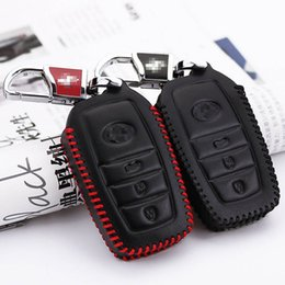 Wholesale car key holders for toyota - Car-styling Premium Leather Remote Key Holder Fob Case Cover For Toyota Prado