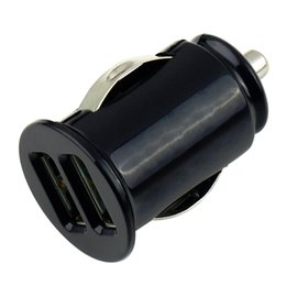 Mini bullet dual usb auto ladegerät online-100% hohe Qualität 1 Stücke USB Mini Bullet Power Auto Ladegerät Dual 2 Port Adapter Großhandel (DC 12 V 2.1A) bestellen $ 18no track