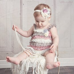 Wholesale Cute Lace Rompers - Sweet Baby Girls Lace Rompers Multi Color Ruffles Party Clothing Patchwork Halter Cute Baby Summer Fall Rompers