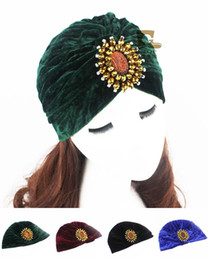 Wholesale Cheap Winter Headbands - Women Soft Velvet Turban Headband Jewel Accessory Turban Beanie Hat indian cap Turbante free shipping cheap