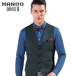 Wholesale Green Dress Waistcoats - Wholesale-Green Color Men Suit Dress Vests Men's Fitted Leisure Waistcoat Casual Business Jacket Tops Three Buttons 6 Colors