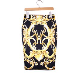 Wholesale Vintage Fashion Clothing Ladies - Gold vintage geometric print women middle skirts 2016 new vogue lady faldas girls 2016 fashion summer clothing mix order factory wholesale