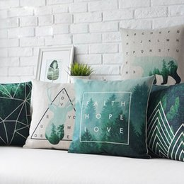 brown bear case UK - Free shipping Nordic deer bear geometric triangles mountain forest trees Faith Hope Love words alphabet cushion cover throw pillow Case