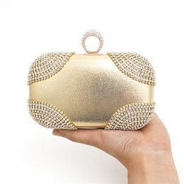 Wholesale Gold Bag Ring - Fashion Lovely Ring rhinestone women bag clutch evening bags black gold silver cosmetics case small purse bag for wedding party diner