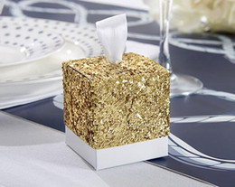 "Wholesale Boxes For Candy Favors - New Wedding Party Favors And Gifts Candy Box ""All That Glitters"" Gold Glitter Favor Box For Guest"