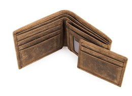 Wholesale Horse Coin Purse - New Men Genuine Leather Bifold Wallet Vintage Coin Purse Short Card Holder European Style Men's Mini Purse Crazy Horse Leather Wallets
