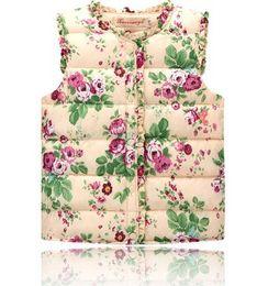 Wholesale Coat Winter Kids Boy - 2016 Winter Toddler Kids Floral Print Vests Winter Waistcoat Thick Warm Vest Sleeveless Cotton Padded Overcoat Baby Boys Girls Coat B4199