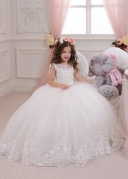 Wholesale Cheap Back Bow Dress - Stunning Princess Ball Gown Tulle Flower Girls Dresses With Jewel Neck Zipper Back Bead Lace Appliques Girls Formal Dress For Wedding Cheap