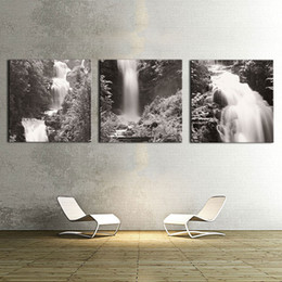 Wholesale Living Image - Wall Art 3 Panel Black and White Images Waterfall canvas prints Home Decoration living room modular painting Print cuadros